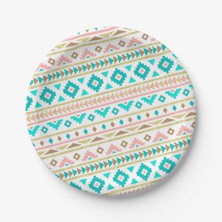 Boho Tribal Chic Geometric Stripes Paper Plate