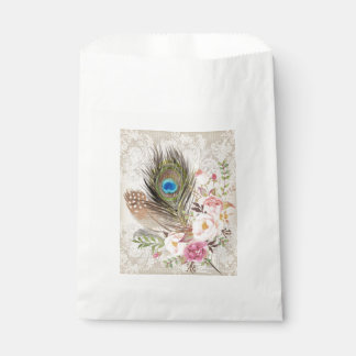 Boho Tribal Chic Peacock Feather Candy Favor Bag