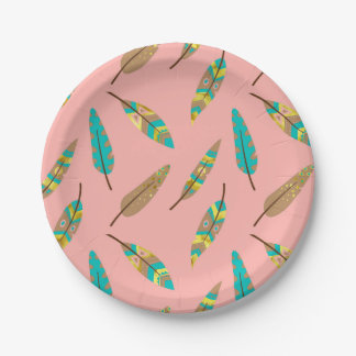 Boho Tribal Chic Pink Feather Paper Plate