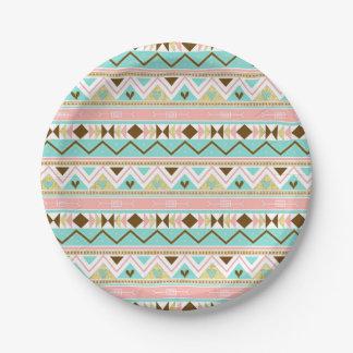 Boho Tribal Chic Stripes Paper Plate