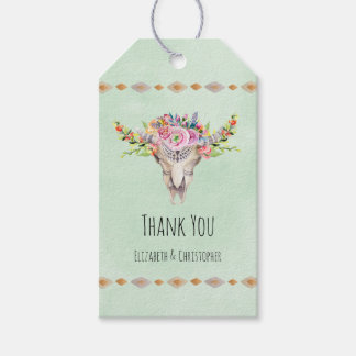 Boho Tribal Cow Skull Floral Thank You