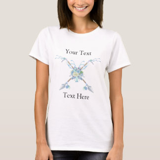 Boho Tribal Crossed Arrows Ribbons Feathers Blue T-Shirt
