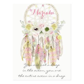 Boho Tribal Dream Catcher Feathers Flowers Native Postcard