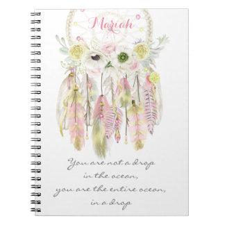 Boho Tribal Dreamcatcher Flowers Native Spirit Notebook