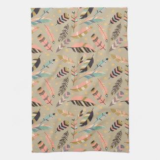 Boho Tribal Feather Pattern Tea Towel