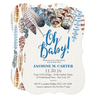 Boho Tribal Feathers Watercolor | Baby Shower Boy 13 Cm X 18 Cm Invitation Card