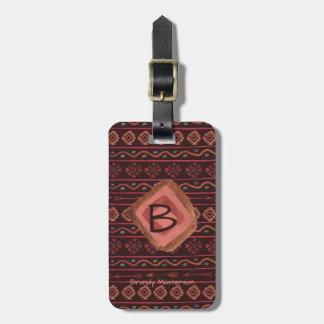 Boho Tribal Pattern, Personalized & Reversible Luggage Tag