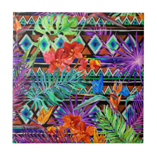 BoHo Tropical Tribal Florals Small Square Tile