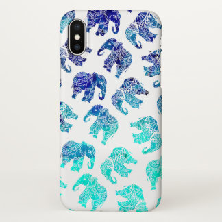 Boho turquoise blue ombre watercolor elephants iPhone x case