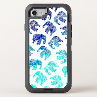 Boho turquoise blue ombre watercolor elephants OtterBox defender iPhone 8/7 case