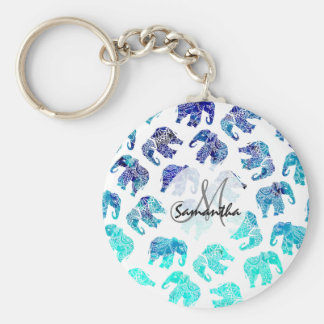 Boho turquoise watercolor elephants illustration key ring
