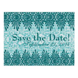 Boho Vintage Blue Teal Damask save the date Post Cards