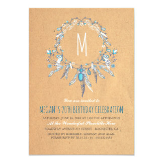 Boho Vintage Dreamcather Birthday Party Card