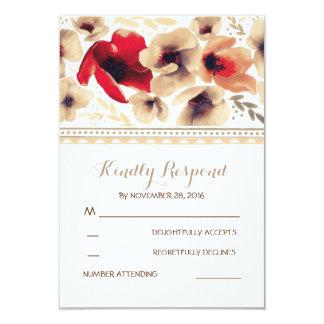 Boho Vintage Flowers Wedding RSVP 9 Cm X 13 Cm Invitation Card