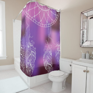 boho violet pattern shower curtain