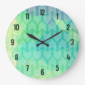 Boho Watercolor Arrows Geometric Pattern Large Clock