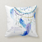 BOHO Watercolor Dream Catcher Big Dreams Feathers Cushion