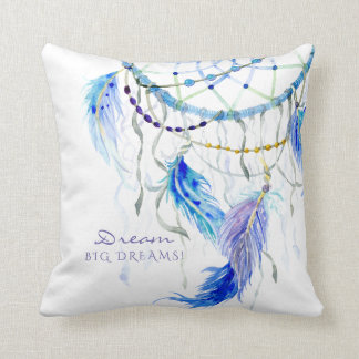 BOHO Watercolor Dream Catcher Big Dreams Feathers Cushion