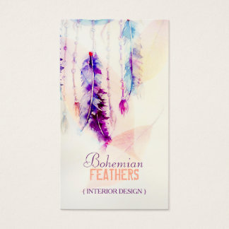 Boho Watercolor Dreamcatcher Feathers Business Card