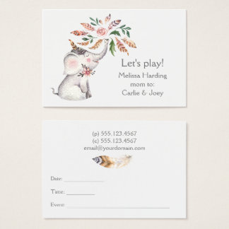 Boho Watercolor Elephant  Flowers Mom Calling Business Card