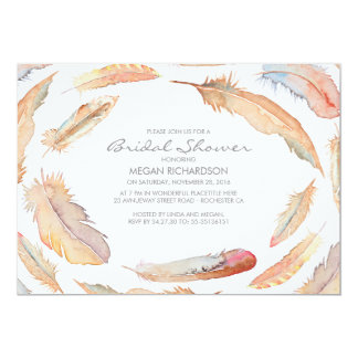boho watercolor feathers tribal bridal shower 13 cm x 18 cm invitation card