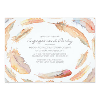 boho watercolor feathers tribal engagement party 13 cm x 18 cm invitation card