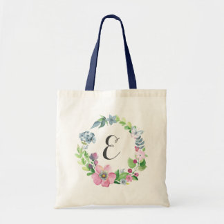 Boho Watercolor Floral & Butterfly | Monogram Tote Bag