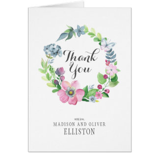 Boho Watercolor Floral & Butterfly | Thank You Card