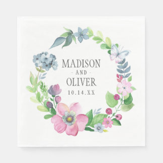 Boho Watercolor Floral & Butterfly   Wedding Disposable Serviettes