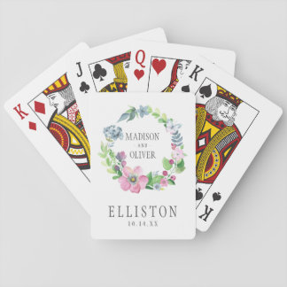 Boho Watercolor Floral & Butterfly | Wedding Playing Cards