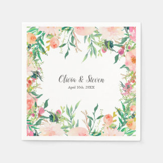 Boho Watercolor Floral Personalised Wedding Disposable Serviette