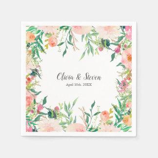 Boho Watercolor Floral Personalized Wedding Disposable Serviette