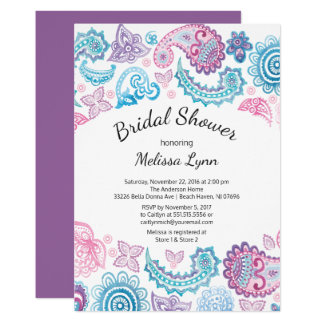 Boho Watercolor Paisley Pattern Bridal Shower Card