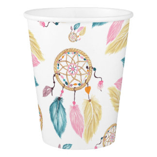 Boho  watercolor pastel dreamcatcher pattern paper cup