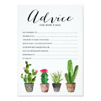 Boho Watercolor Succulents Advice for the Parents 13 Cm X 18 Cm Invitation Card