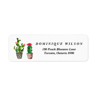 Boho Watercolor Succulents Customizable Return Return Address Label