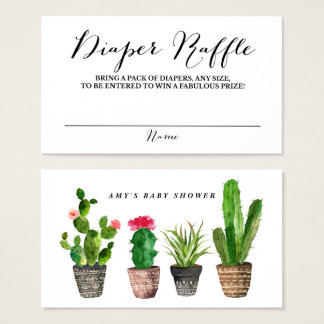 Boho Watercolor Succulents Diaper Raffle Game Business Card