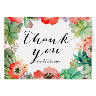 Boho Watercolor Succulents Floral Frame Thank You Greeting Card