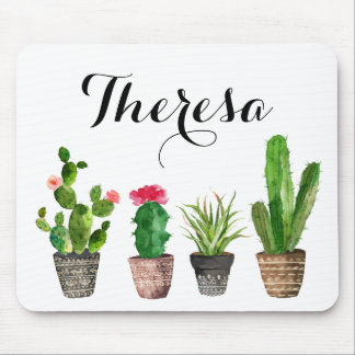 Boho Watercolor Succulents Personalised Mouse Pad