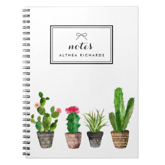 Boho Watercolor Succulents Personalised Spiral Note Book