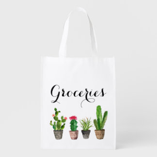 Boho Watercolor Succulents Personalized Grocery Reusable Grocery Bag