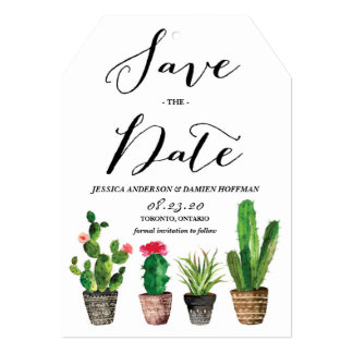 Boho Watercolor Succulents Save the Date Card