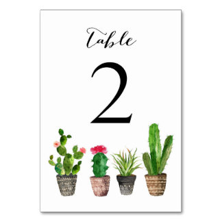 Boho Watercolor Succulents Table Numbers Card 2