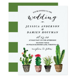 Boho Watercolor Succulents Wedding III 13 Cm X 18 Cm Invitation Card