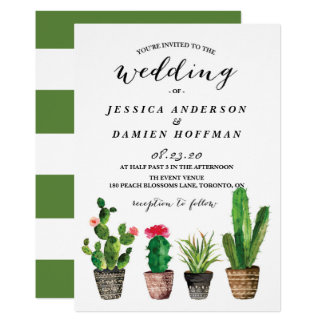 Boho Watercolor Succulents Wedding III Card