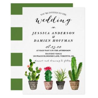 Boho Watercolor Succulents Wedding IV 13 Cm X 18 Cm Invitation Card
