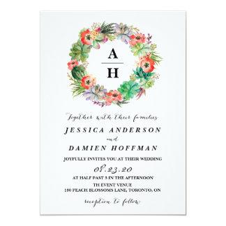 Boho Watercolor Succulents Wreath Floral Wedding 13 Cm X 18 Cm Invitation Card