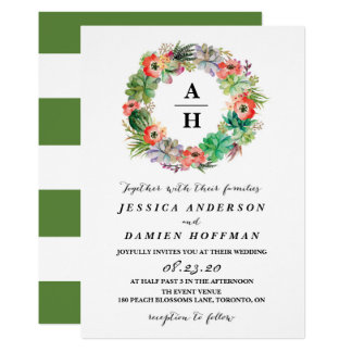 Boho Watercolor Succulents Wreath Floral Wedding Card