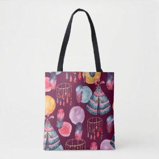 Boho Watercolor Tribal Pattern Tote Bag