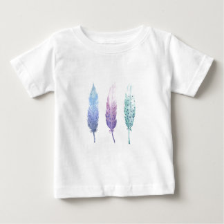 Boho Watercolour Feather Trio Baby T-Shirt